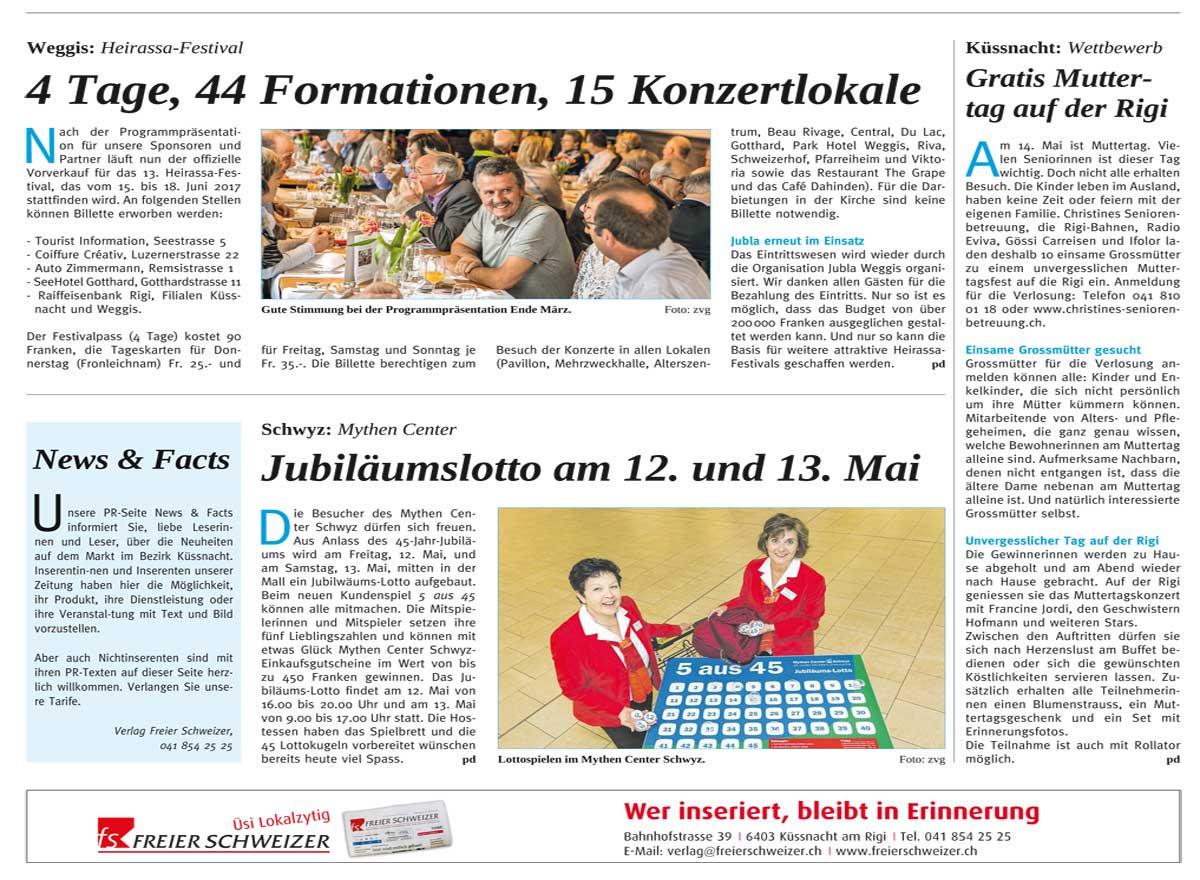Artikel zum Muttertag in Freien Schweizer vom 5. Mai 2017.