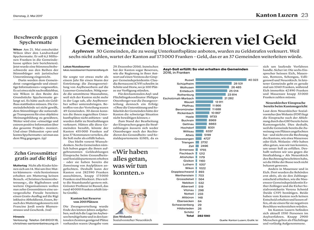 Artikel zum Muttertag in der Neuen Luzerner Zeitung vom 2. Mai 2017.