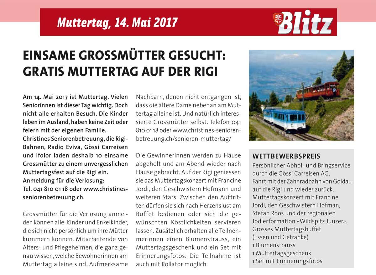 Artikel zum Muttertag im Nidwaldner Blitz vom 3. Mai 2017.