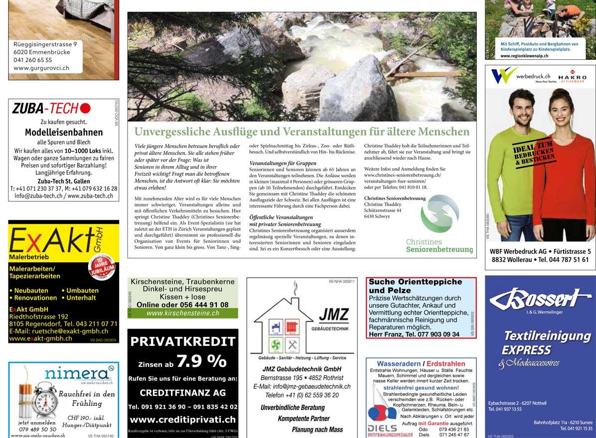 Artikel zu Veranstaltungen im Luzerner Regional Anzeiger vom 25.8.2017