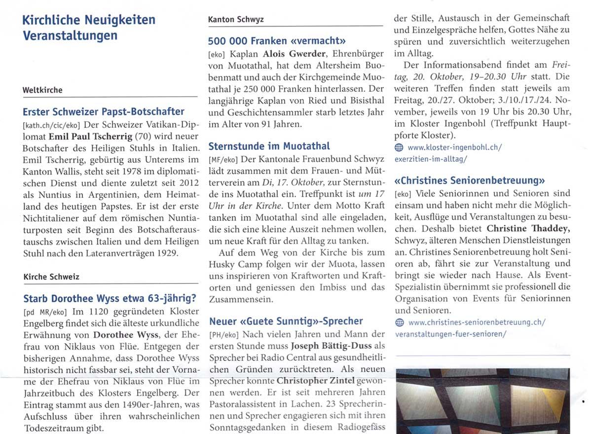 Artikel zu Veranstaltungen im Pfarreiblatt Schwyz vom 14.10.2017